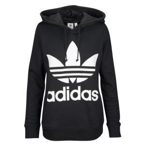 アディダス adidas Originals レディース パーカー トップス Adicolor Trefoil Hoodie Black/White|fermart