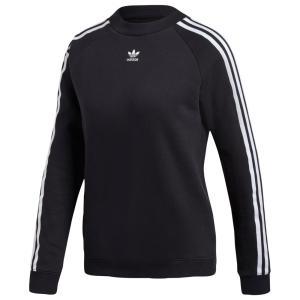 アディダス adidas Originals レディース スウェット・トレーナー トップス Adicolor 3 Stripe Cropped Crew Black/White|fermart