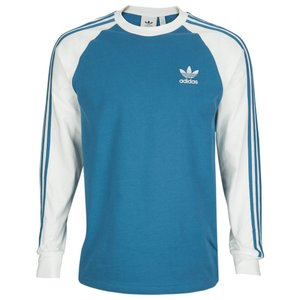 アディダス adidas Originals メンズ 長袖Tシャツ トップス California Long Sleeve T-Shirt Blanche Blue/White|fermart