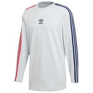 アディダス adidas Originals メンズ 長袖Tシャツ トップス Long Sleeve Stripe T-Shirt Clear Grey/Collegiate Navy/Bold Red|fermart
