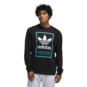 アディダス adidas Originals メンズ 長袖Tシャツ トップス Tongue Label L/S T-Shirt Black|fermart