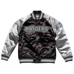 ミッチェル&ネス Mitchell & Ness メンズ ブルゾン アウター NFL Tough Season Satin Jacket Black/Silver|fermart