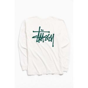 ステューシー Stussy メンズ 長袖Tシャツ トップス Logo Long Sleeve Tee White|fermart