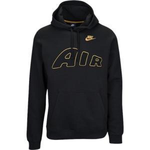 【即納】ナイキ Nike メンズ パーカー トップス Fleece Air Logo Hoodie Black|fermart