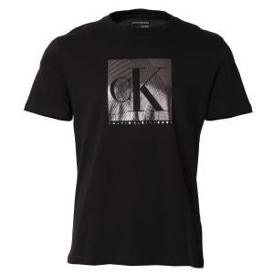 【即納】カルバンクライン Calvin Klein メンズ Tシャツ トップス SS MONOGRAM FOIL BLOCKED CREWNECK TEE BLACK クルーネック 半袖Tシャツ ロゴ fermart
