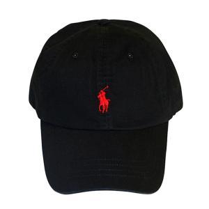 【即納】ラルフ ローレン レディース キャップ 帽子 CLASSIC SPORT CAP RL BLACK/RL2000 RED|fermart