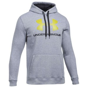 【即納】アンダーアーマー Under Armour メンズ パーカー トップス Rival Fitted Graphic Hoodie TRUE Grey Heather/Black/Smash Yellow|fermart