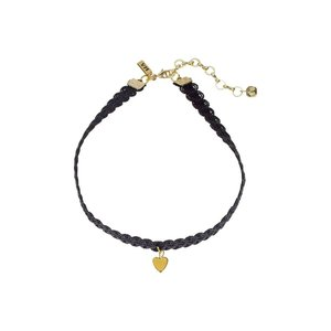 【即納】ヴァネッサ ムーニー Vanessa Mooney レディース ネックレス ジュエリー・アクセサリー Black Lace Choker with Gold Heart Charm Necklace Gold|fermart