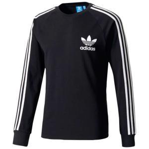 【即納】アディダス adidas Originals メンズ 長袖Tシャツ トップス 3-Stripes Pique L/S T-Shirt Black|fermart