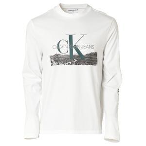 【即納】カルバンクライン Calvin Klein メンズ 長袖Tシャツ トップス LANDSCAPE PRINT LS TEE WHITE ロンT ロングT ロングスリーブ|fermart