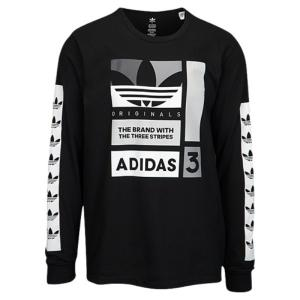 【即納】アディダス adidas Originals メンズ 長袖Tシャツ トップス Graphic Long Sleeve T-Shirt Black/White/Grey|fermart