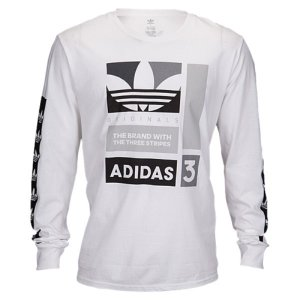 【即納】アディダス adidas Originals メンズ 長袖Tシャツ トップス Graphic Long Sleeve T-Shirt White/Black/Grey|fermart
