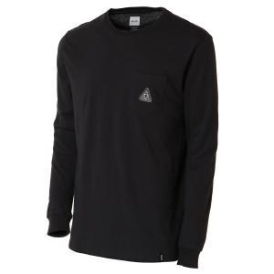 【即納】ハフ HUF メンズ 長袖Tシャツ トップス PEAK PATCH L/S/POCKET TEE BLACK ロンT ロングT ロングスリーブ|fermart