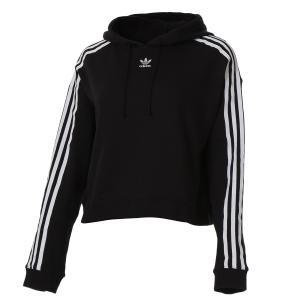 【即納】アディダス ADIDAS レディース パーカー トップス Adicolor 3 Stripe Cropped Hoodie Black/White|fermart