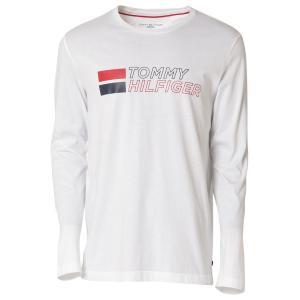 【即納】トミー ヒルフィガー Tommy Hilfiger メンズ 長袖Tシャツ トップス GRAPHIC TEE 100 WHITE ロンT ロングT ロングスリーブ ロゴ|fermart