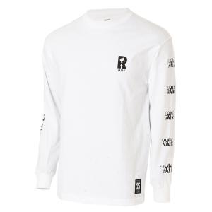 【即納】ハフ HUF メンズ 長袖Tシャツ トップス ロンT ロングT ロングスリーブ REAL NON-FICTION L/S TEE WHITE|fermart