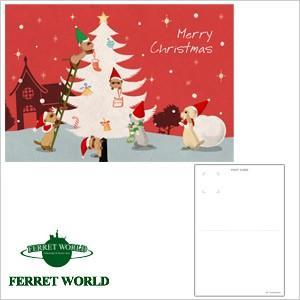 (受注生産) (FWF) クリスマス ポストカード ツリーを飾るフェレットたちフェレット クリスマス 雑貨 ステーショナリー(ゆうパケットOK)|ferretwd