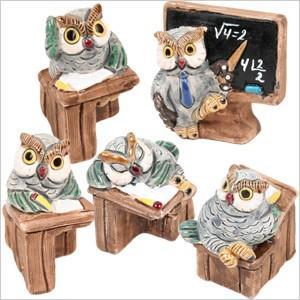 フクロウ教室シリーズ ふくろう フクロウ 梟 雑貨 インテリア 小物 置物 陶器 学校 スクール テラリウム オブジェ|ferretwd