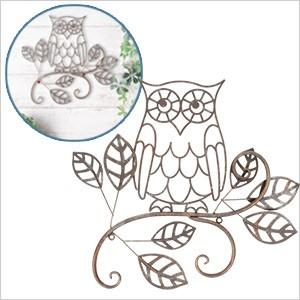 ウォールデコレーション OWL(YFH-1180)フクロウ ふくろう 雑貨 アイアン 飾り 壁飾り ガーデニング ディスプレイ 壁掛け 玄関 ウォールデコ アンティーク レトロ|ferretwd