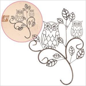 ウォールデコレーション OWL親子(YFH-1190)フクロウ ふくろう 雑貨 アイアン 飾り 壁飾り ガーデニング ディスプレイ 壁掛け 玄関 ウォールデコ アンティーク レ|ferretwd