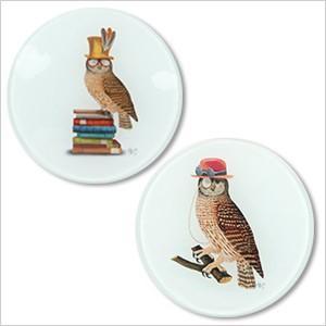 ガラストレー OWLフクロウ ふくろう 雑貨 オーナー雑貨 食器 インテリア 小皿 小物置き トレー ferretwd
