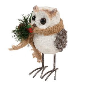 クリスマス レジン製 パインコーンオウル(DSL-2280)(フクロウクリスマス置物) ふくろう フクロウ 梟 雑貨 置物 インテリア オブジェ 飾り 松ぼっくり ferretwd