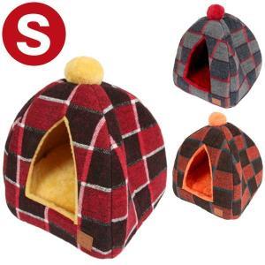 i Dog テントベッド チェック Sサイズ 犬 ドッグ 猫 ネコ 小動物 フリース ベッド 超小型犬 仔犬 パピー 暖か 温感 かまくら型 イグルー|ferretwd