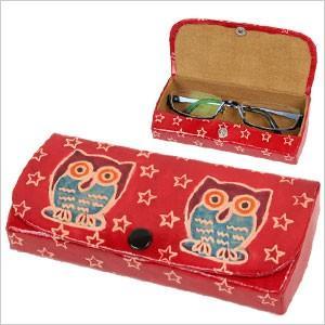 ヤンピー フクロウメガネケース フクロウ 雑貨 オーナー雑貨 眼鏡 めがね 眼鏡ケース アジアン雑貨 シープスキン 羊皮 ハンドメイド|ferretwd