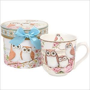 フクロウ プチギフトマグカップ (ギフトBOX入り)0390621(食器)(日用雑貨) フクロウ ふくろう 梟 雑貨 陶器 コーヒーカップ マグカップ プレゼント ギフト|ferretwd