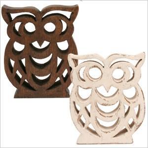 オブジェ フクロウ フクロウ ふくろう 雑貨 オーナー雑貨 置物 オブジェ 木製 木彫り ハンドメイド ferretwd
