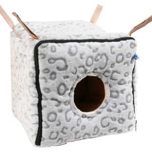 フェレット ハンモック(お取寄せ品)ゆらゆらキューブ レオパード  コットン 冬用 秋用 もぐれる BOX型 ボア あったか ferretwd
