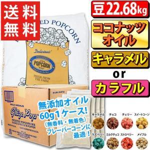 ポップコーン プレファード バタフライ豆 GOLD 22.68kg + キャラメル or カラフルフレーバー22.7kg + ココナッツオイル無添加60g×180個 1ケース|fescogroup