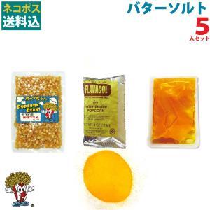 ネコポス送料込 ポップコーン バターソルトポップコーン 5人セット ポップコーン豆 フレーバー オイル 材料セット|fescogroup