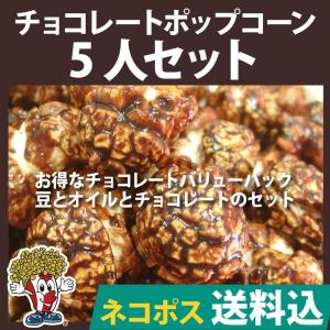 ネコポス送料込 ポップコーン チョコレートポップコーン 5人セット ポップコーン豆 フレーバー オイル 材料セット|fescogroup