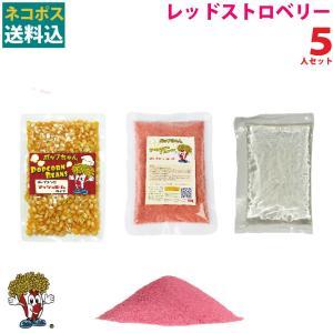 メール便送料込 ポップコーン レッドストロベリーポップコーン 5人セット ポップコーン豆 フレーバー オイル 材料セット|fescogroup