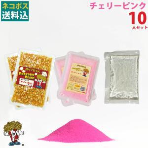 ネコポス送料込 ポップコーン チェリーピンク ポップコーン 10人セット ポップコーン豆 フレーバー オイル 材料セット|fescogroup