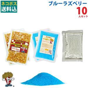 ネコポス送料込 ポップコーン ブルーラズベリーポップコーン 10人セット ポップコーン豆 フレーバー オイル 材料セット|fescogroup
