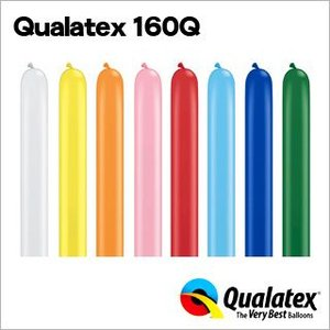 Qualatex Balloon 160Q スタンダードカラー 単色 約100入 風船 マジックバルーン ペンシルバルーン クオラテックス バルーン festival-plaza