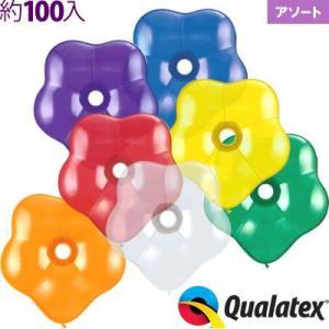約100入 6インチ(約16cm) ジオブロッサム(花型風船) ジュエルアソート(透明タイプ) Qualatex Balloon 風船 クオラテックス バルーン|festival-plaza