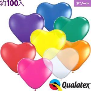 100入 6インチ(約16cm) ハート ジュエルアソート(透明タイプ) Qualatex Balloon 風船 カラフル イベント クオラテックス クォラテックス バルーン|festival-plaza