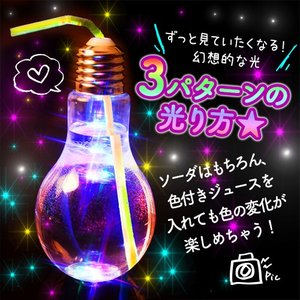 バルク 電球ボトル 500ml ストロー付 100入 タピオカストロー 対応 233 17G07 時間指定・不良返品不可 送料無料(本州のみ) festival-plaza 04