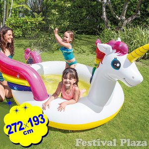 [あすつく 配送区分A]浮き輪 57441 ミスティックユニコーンスプレープール 幅272×高さ193×厚み104cm INTEX インテックス 407685  211 18E23|festival-plaza