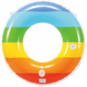 浮き輪 レインボーボーダー ウキワ 80cm 3200円(税抜)  19E20 うきわ 浮き輪 浮輪 子供 こども 大人 レインボー カラフル WH7480 子供会 景品 お祭|festival-plaza