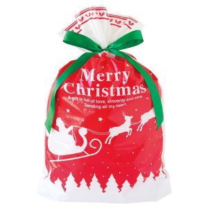 ベーシッククリスマスリボン付PEギフトバッグ−L 20枚 クリスマス ラッピング603[18K17]|festival-plaza