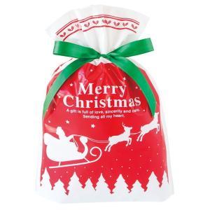 ベーシッククリスマスリボン付PEギフトバッグ−M 20枚 クリスマス ラッピング603[18K17]|festival-plaza