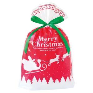 ベーシッククリスマスリボン付PEギフトバッグ−S 20枚 クリスマス ラッピング603[18K17]|festival-plaza