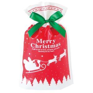 ベーシッククリスマスリボン付PEギフトバッグ−XS 20枚 クリスマス ラッピング603[18K17]|festival-plaza