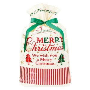クラシカルクリスマスリボン付PEギフトバッグ−L 20枚 クリスマス ラッピング603[18K17]|festival-plaza