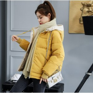 中綿コート ダウン風ジャケット レディース 厚手 ショート丈 綿入り シンプル フード付き アウター ゆったり 防寒 あったか おしゃれ|ff8yoshi1127