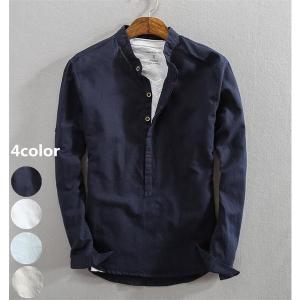 綿麻シャツ メンズ 長袖 リネンシャツ 春夏 無地 オープンカラーシャツ ff8yoshi1127